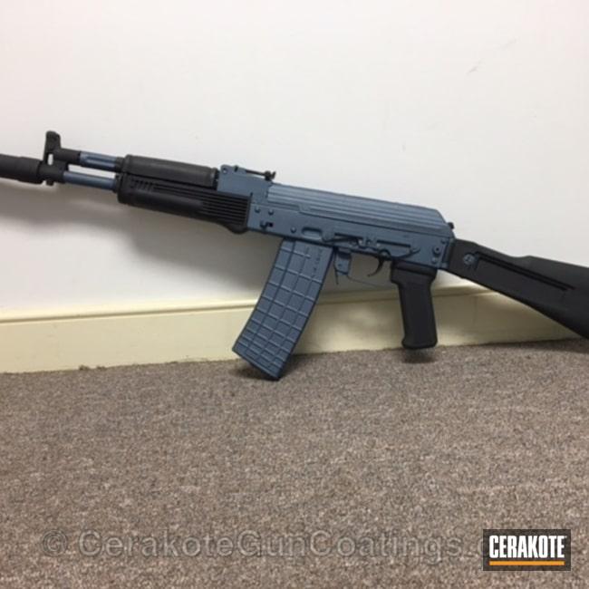 Cerakoted: Graphite Black H-146,AK-47,Blue Titanium H-185