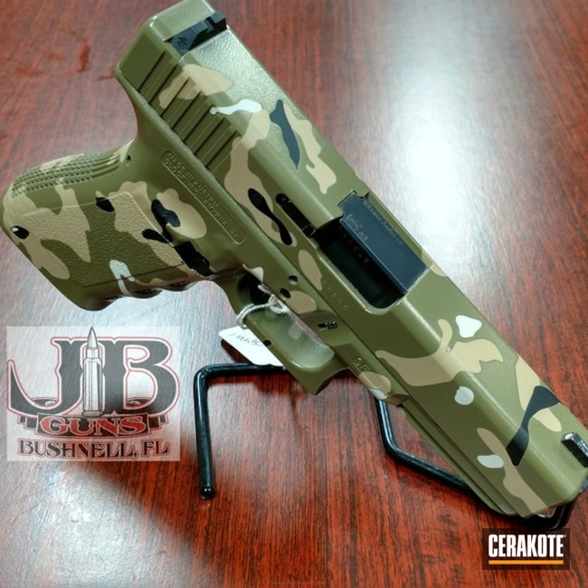 Glock Handgun in a Cerakote MultiCam Finish