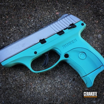Cerakoted Ruger Lc9 Handgun Coated In H-175 Robin's Egg Blue And H-151 Satin Aluminum