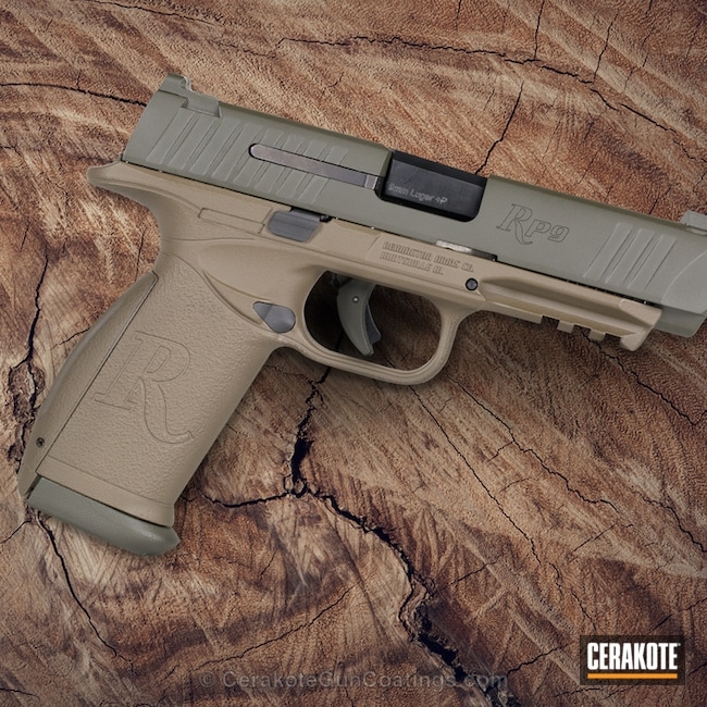 Remington RP-9 Handgun coated in H-226 Patriot Brown and H-232 MagPul O.D. Green