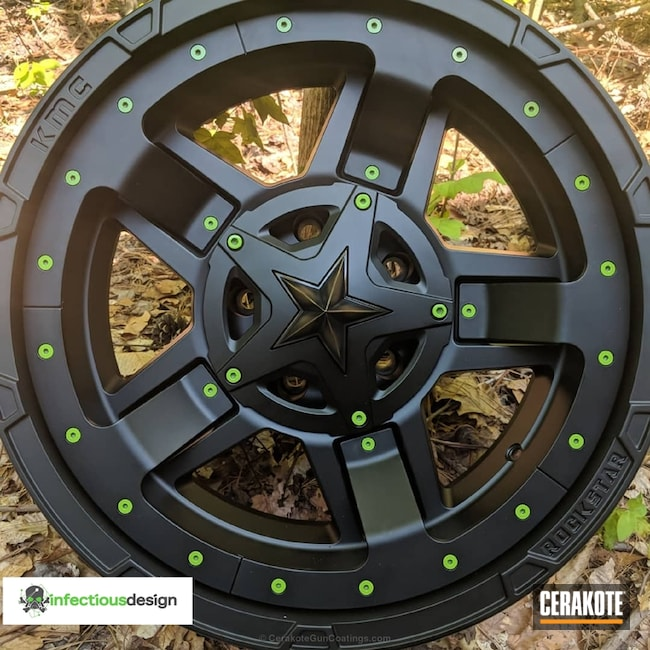 KMC Rockstar Wheels coated in Graphite Black, Burnt Bronze and Zombie Green