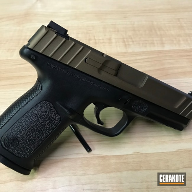 Smith & Wesson Handgun coated in H-148 Burnt Bronze