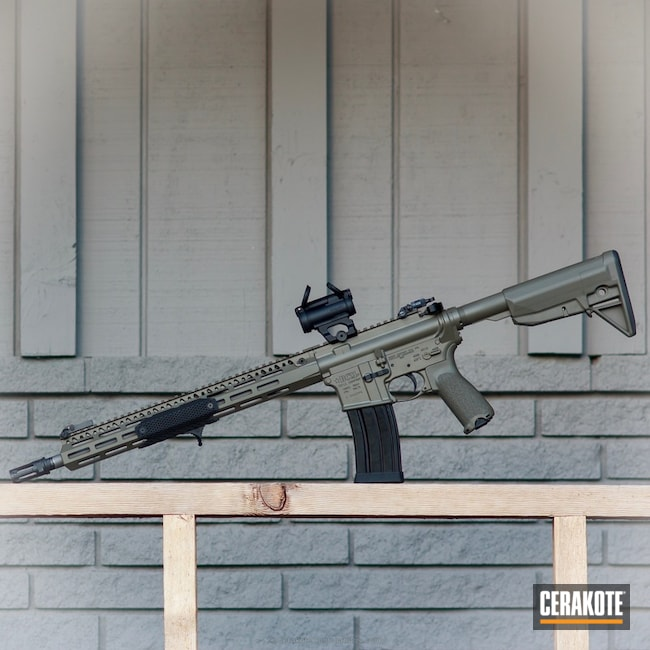 Two Toned Tactical Rifle coated in Cerakote H-231 MagPul Foliage Green