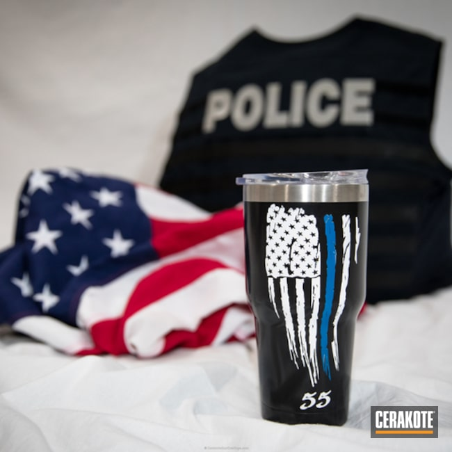 YETI Tumbler Cup Cerakoted in a Custom American Thin Blue Line Flag