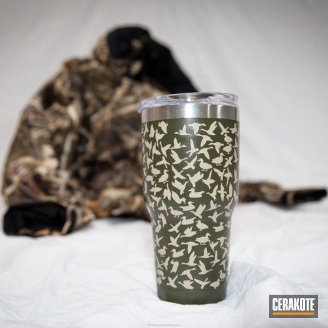 Custom Tumbler Cup in a Cerakote Duck Pattern