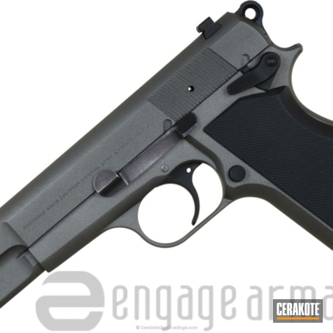Browning Hi-Powder 9mm Handgun coated in H-190 Armor Black and H-237 Tungsten
