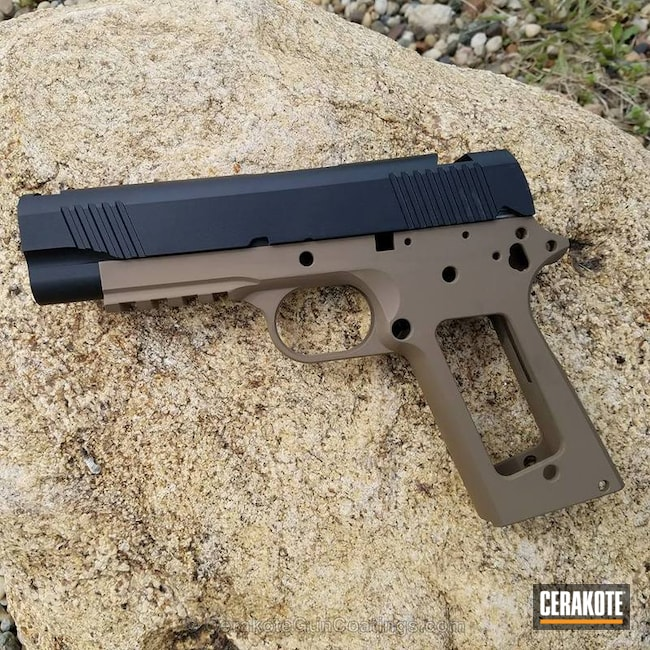 Smaller version of the 1st project picture. Graphite Black H-146Q, 1911, Handgun, Two Tone, Custom, MagPul Flat Dark Earth H-267Q