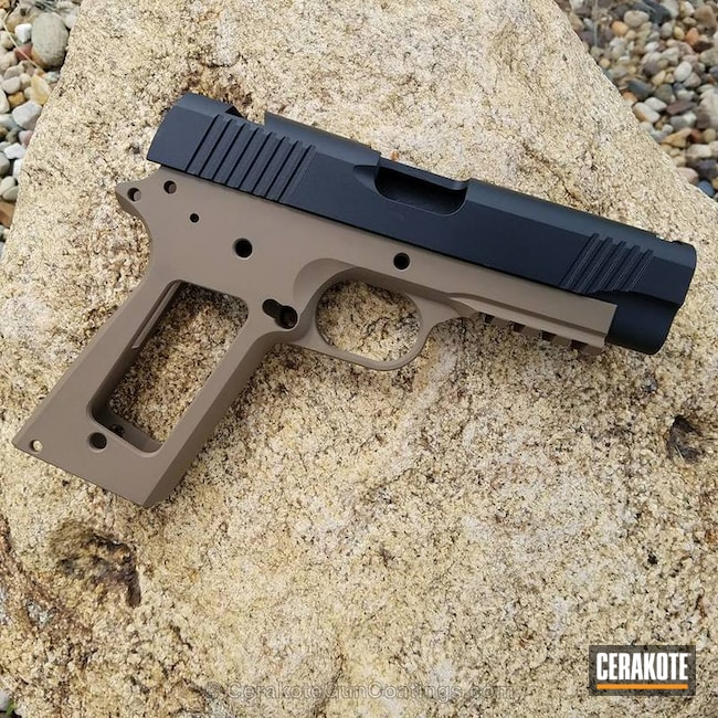 Smaller version of the 2nd project picture. Graphite Black H-146Q, 1911, Handgun, Two Tone, Custom, MagPul Flat Dark Earth H-267Q