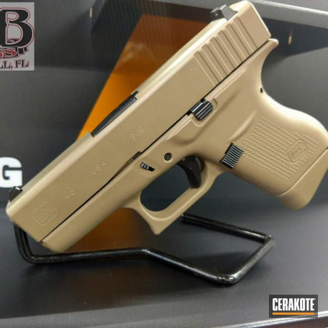 Glock 43 coated in H-267 MagPul Flat Dark Earth