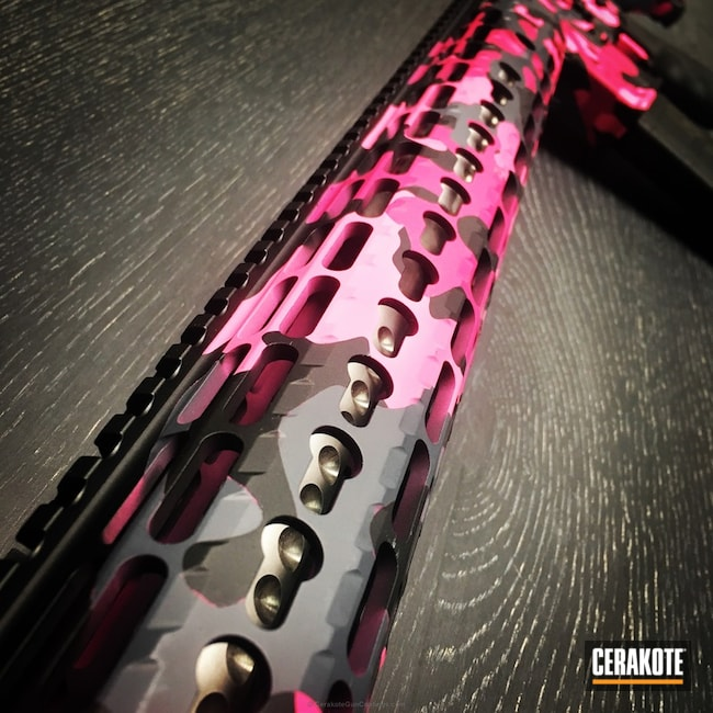 Ladies Woodland Camo Pink and Black Tactical Rifle