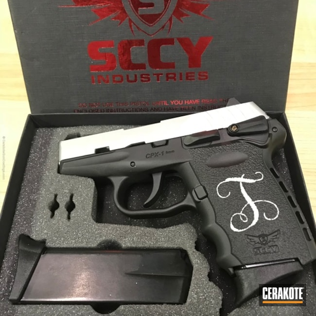 SCCY Industries Handgun coated in H-190 Armor Black and H-151 Satin Aluminum