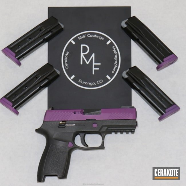 Sig Sauer Handgun coated in H-112 Cobalt and H-197 Wild Purple