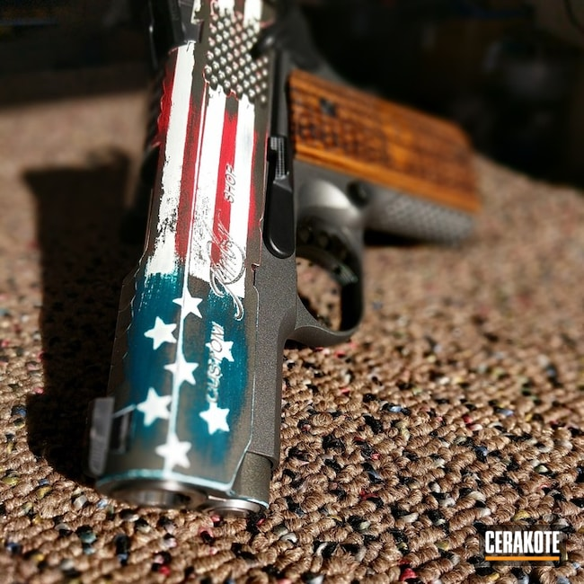 Kimber 1911 Handgun in a Distressed American Flag Finish