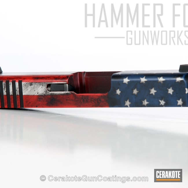 Glock Slide coated in a Distressed American Flag Finish