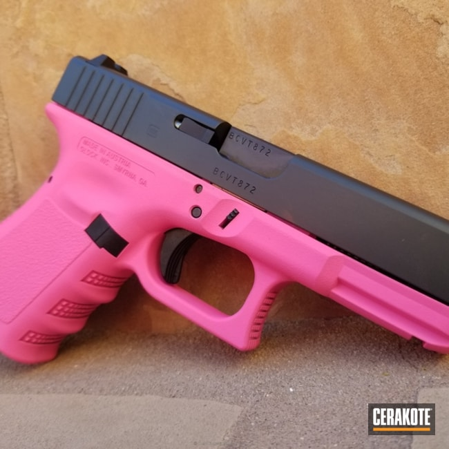 Two Toned Glock Cerakoted in H-141 Prison Pink