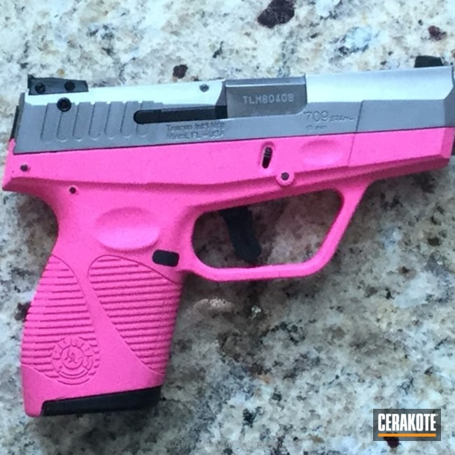 "Thumbnail image for project ""Taurus 709 Slim Handgun coated in H-141 Prison Pink"""