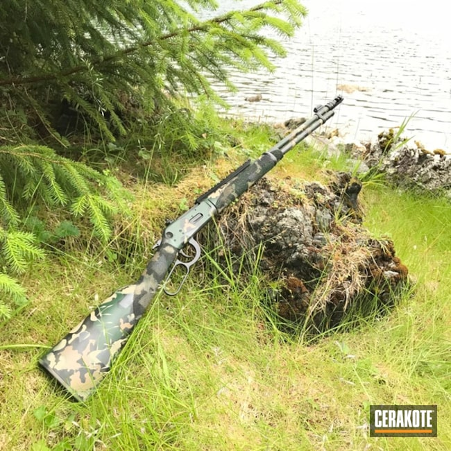 Lever Action Rifle Cerakoted in a Jungle Camo