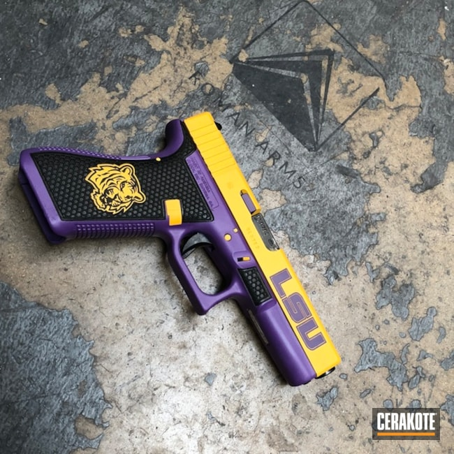 Big version of the 1st project picture. Glock, Pistol, Glock 22, Bright Purple H-217Q, DeWalt Yellow H-126Q, College Theme, LSU, Laser Stippled