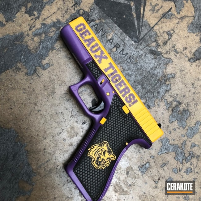 Smaller version of the 2nd project picture. Glock, Pistol, Glock 22, Bright Purple H-217Q, DeWalt Yellow H-126Q, College Theme, LSU, Laser Stippled