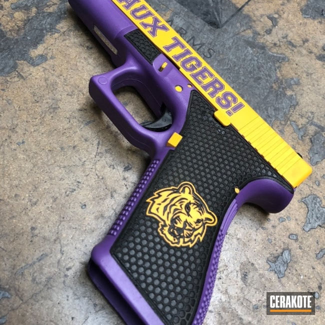 Mobile-friendly version of the 5th project picture. Glock, Pistol, Glock 22, Bright Purple H-217Q, DeWalt Yellow H-126Q, College Theme, LSU, Laser Stippled