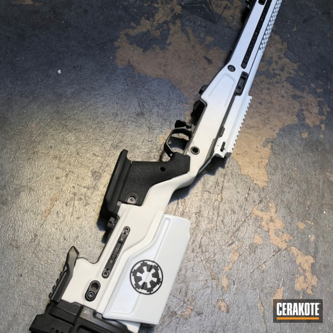 Bolt Action Rifle in a Two Tone White and Black Cerakote Finish