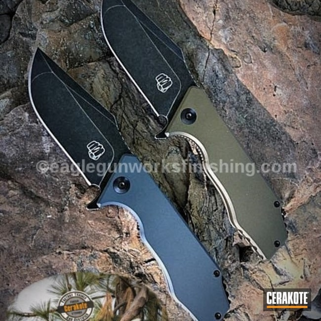 Thumbnail version of the 2nd project picture. Knives, Not Just Guns, Folding Knife, Cobalt Kinetics Slate H-295Q, Cobalt Kinetics Green H-296Q