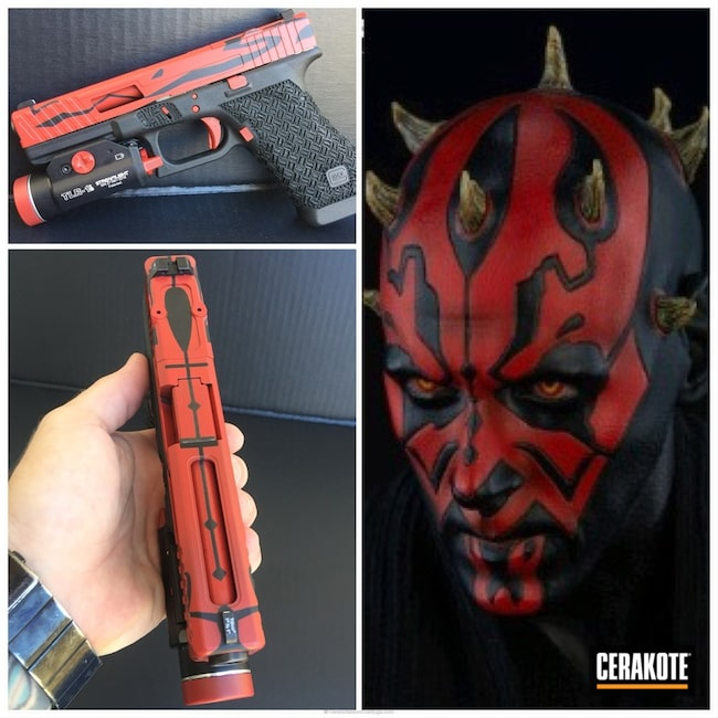 Smaller version of the 4th project picture. Glock, Star Wars, Pistol, Stippled, Smith & Wesson Red H-216, Gloss Black H-109Q, Darth Maul