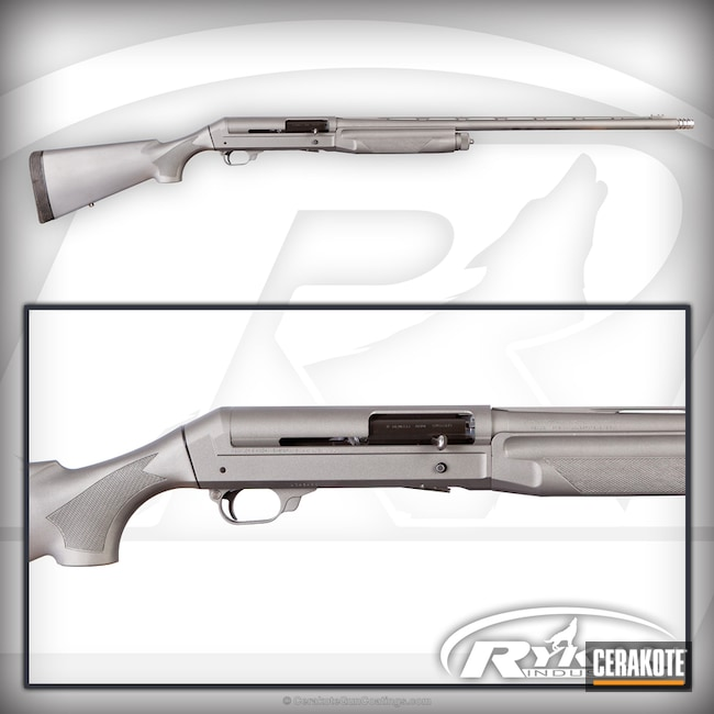 Benelli Shotgun Cerakoted in H-170 Titanium and H-237 Tungsten