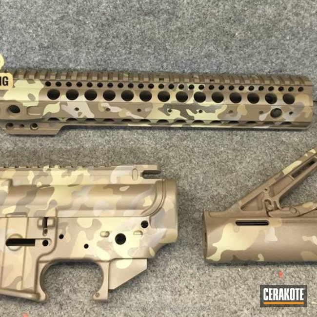"Thumbnail image for project ""AR-15 Cerakoted in MagPul Flat Dark Earth, Patriot Brown and Light Sand"""
