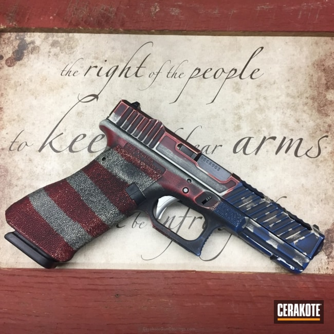 Mobile-friendly version of the 3rd project picture. Glock, American Flag, Battleworn, Smith & Wesson Red H-216, Armor Black H-190Q, NRA Blue H-171Q, Hidden White H-242Q, Battleworn Flag, Custom Glock Slide, OPS AMORY