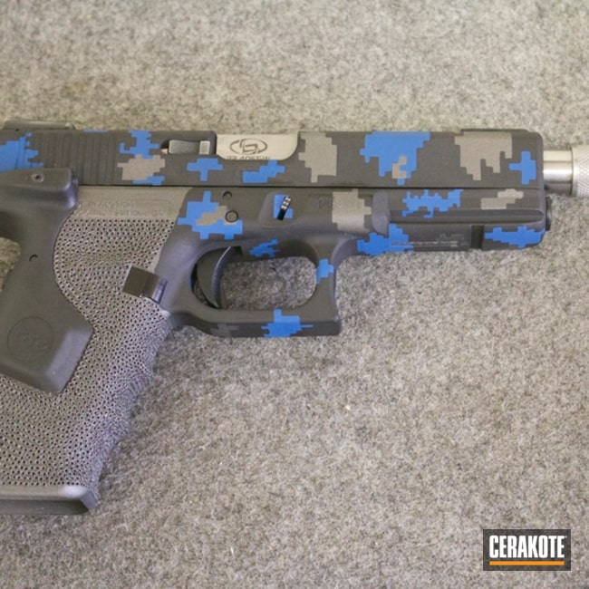 Mobile-friendly version of the 1st project picture. Glock, Stippled, Digital Camo, NRA Blue H-171Q, Sniper Grey H-234Q, Ops Armory, Custom Glock Slide