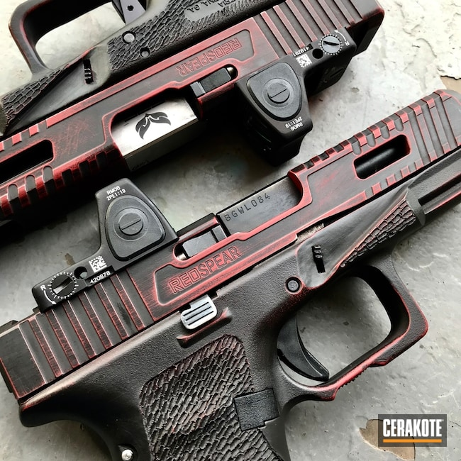 Custom Milled Glock Handguns in a Distressed Red and Black Cerakote Finish