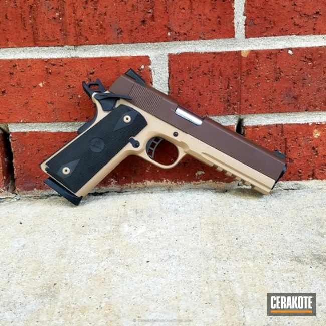 Two Toned 1911 Handgun Cerakoted in Graphite Black, Chocolate Brown and Coyote Tan
