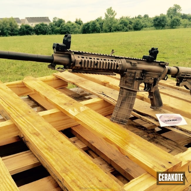 Tippmann AR-22 Rifle Cerakoted in H-190 Armor Black and H-267 MagPul Flat Dark Earth