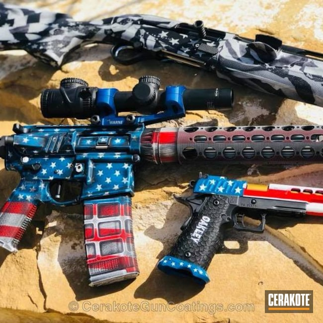 Smaller version of the 1st project picture. Graphite Black H-146Q, American Flag, Pistol, Tactical Rifle, USMC Red H-167Q, NRA Blue H-171Q, Snow White H-136Q, Distressed American Flag, Matching Set, Black and White Hydrographics