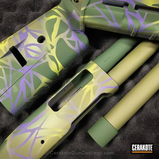 Thumbnail version of the 2nd project picture. Shotgun, Gun Parts, Bright Purple H-217Q, Corvette Yellow H-144Q, Highland Green H-200, Noveske Bazooka Green H-189Q