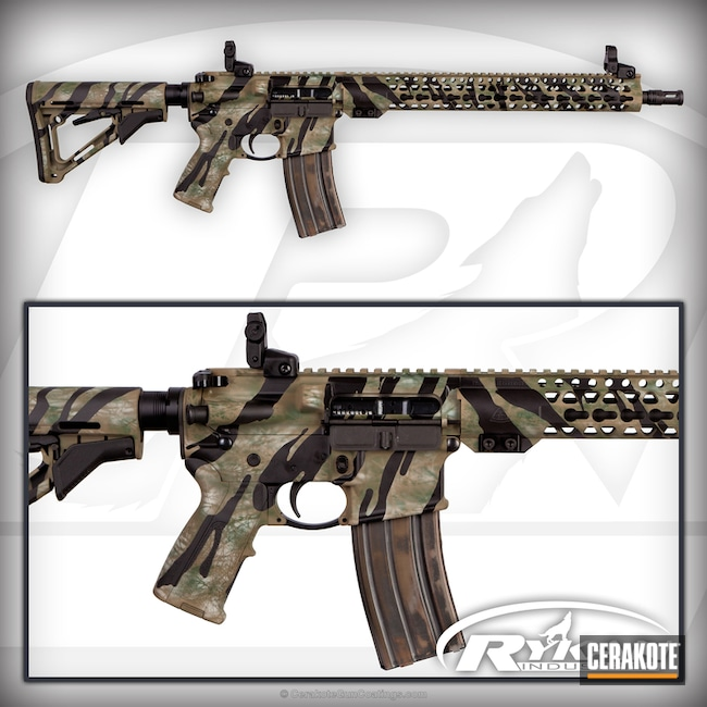Mobile-friendly version of the 1st project picture. Graphite Black H-146Q, Ruger, AR-15, Tiger Stripes, Highland Green H-200, Light Sand H-142Q, Coyote Tan H-235Q, Predator Camo