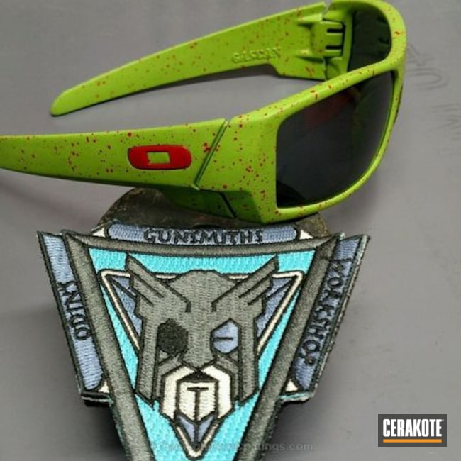 Oakley Sunglasses coated in H-168 Zombie Green ans H-216 Smith & Wesson Red