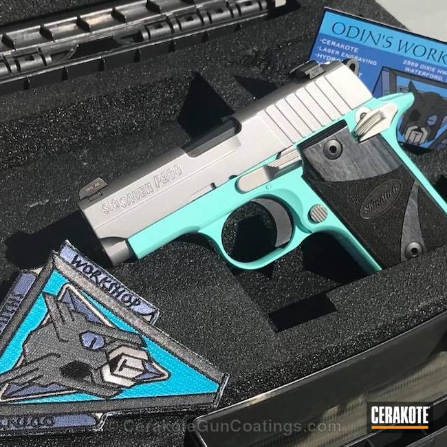 Smaller version of the 1st project picture. Sig Sauer, .380, Pistol, Sig Sauer P238, Robin's Egg Blue H-175Q, .380 ACP, Tiffany & Co