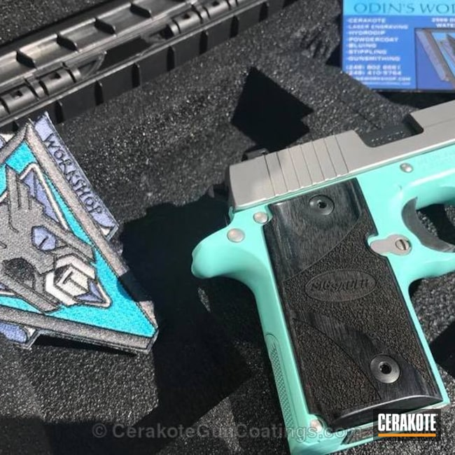 Smaller version of the 2nd project picture. Sig Sauer, .380, Pistol, Sig Sauer P238, Robin's Egg Blue H-175Q, .380 ACP, Tiffany & Co