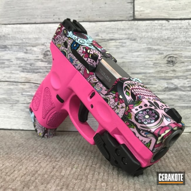Smaller version of the 1st project picture. Sugar Skull, Pistol, Prison Pink H-141Q