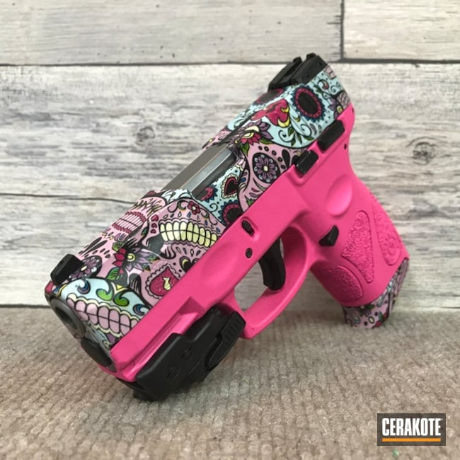 Smaller version of the 2nd project picture. Sugar Skull, Pistol, Prison Pink H-141Q