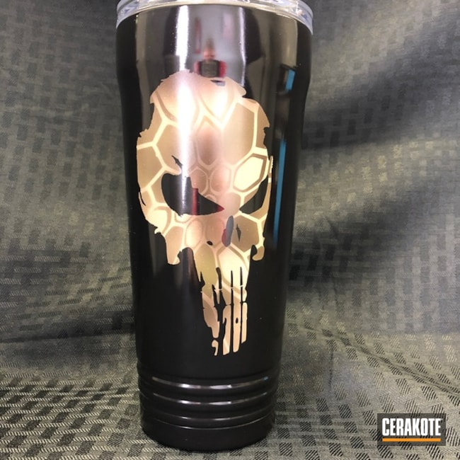 Cerakoted Custom Tumbler Cup in a Punisher Theme