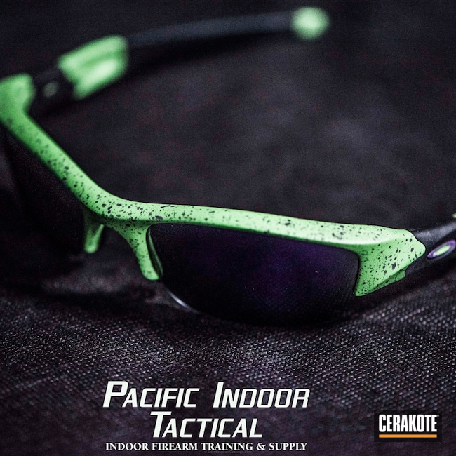 "Thumbnail image for project ""Oakley Sunglasses coated in H-168 Zombie Green and H-197 Wild Purple"""