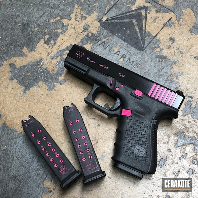 Glock 19 Cerakote Color Fill with Black and Pink Accents