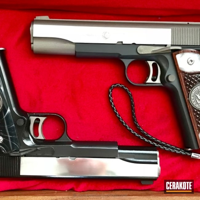 Set of AMT 1911s Cerakoted in a Stainless, Armor Black and Gloss Black Finish