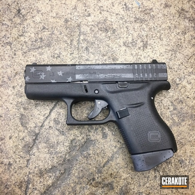 Glock 43 Pistol Cerakoted in H-146 Graphite Black and H-234 Sniper Grey