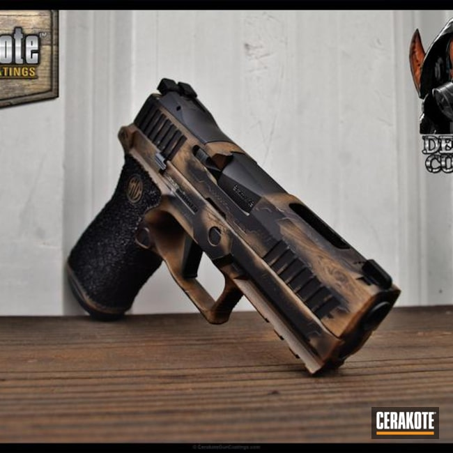Sig Sauer Handgun coated in a Custom Wood Grain Pattern