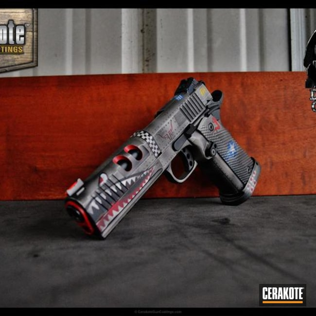 1911 Handgun Cerakoted in Custom Fighter Plane Graphics