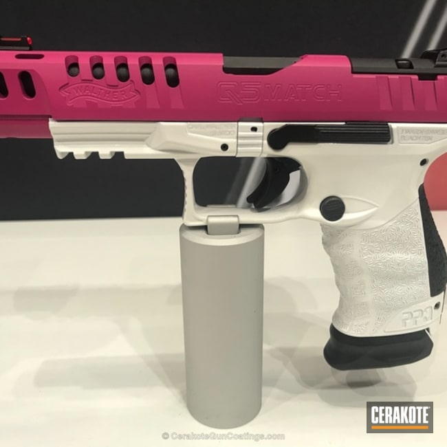 Walther Q5 Match Cerakoted in H-297 Stormtrooper White and H-224 Sig Pink